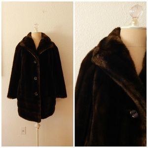 Vintage 60s Brown Faux Fur A Line Swing Coat